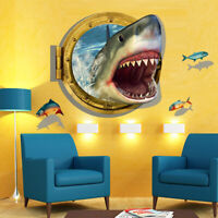 3D Ocean Shark Porthole View Wall Sticker Decal Decor Removable Home Room Decor