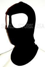 AMERICAN MADE ADULT COTTON BLACK SKI FACE MASK HOOD 2 LARGE EYES USE W GOGGLES