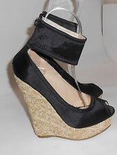 """Blacks 5.5""""Wedge 1.5"""" Platform ankle strap  high heel sandals shoes SIZE. 5.5  p"""
