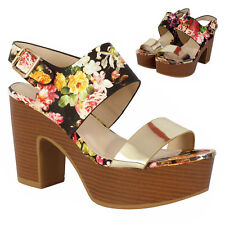 Ladies Womens Floral Open Toe Ankle Strap Platform Chunky High Heel Sandal Shoes