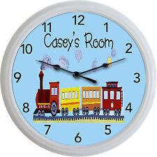 "Train Choo Choo Caboose Wall Clock Child Nursery Engineer Personalized New 10"""