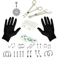 41pcs Body Piercing Kit Navel Belly Tongue Lip Ring Stainless Steel Jewelry