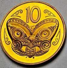 1982 NEW ZEALAND 10 CENTS PROOF BU COLOR BEAUTIFUL UNC GOLDEN TONED GEM (DR)