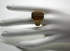 Vintage Large Heavy 9ct Gold And Citrine Coloured Stone Ladies Dress Ring