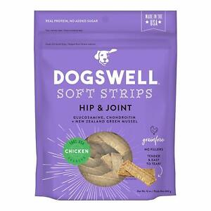 Dogswell Hip & Joint Chicken Soft Strips Dog Grain Free Treats 12oz Made in USA