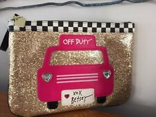 "Betsey Johnson ""OFF DUTY"" Gold Glitter Hot Pink TAXI CAB Wristlet POUCH Clutch"