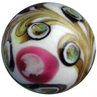 "22mm PEGASUS Pink White Brown Design Handmade Contemporary art glass Marble 7/8"""