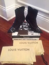 AUTHLOUIS VUITTON Black LV Monogram Booties – Size 39 – Worn Once