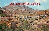 Chrome Postcard AZ K196 Salt River Canyon Highway 60 Bridge Show Low Cancel 1965