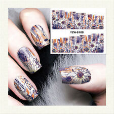 2 Sheets Nail Art Water Decal Purple Flower Theme Manicure Transfer Sticker Tips