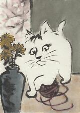 LinLi's Art ACEO Original Watercolor Painting Cat Playing Yarn by Vase 17032603