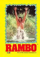 1985 Topps Rambo First Blood Part II Sticker #12 John Rambo > Sylvester Stallone
