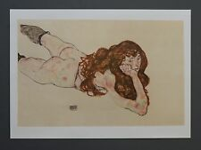 Egon Schiele Lichtdruck Collotype 50x36 Signed Female Nude 1917 Lying Woman Akt
