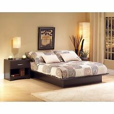 Brown 2 Piece Queen Platform Bed Set Home Living Bedroom Furniture Nightstand