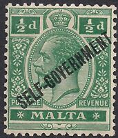 Malta 1922 KGV 1/2d Green Ovpt  Self Government MM SG 106 ( H875 )