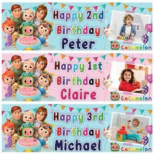 2 Personalised Birthday Banner Balloon Cartoon Children Kids Party poster decor