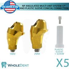 5x NP Conical Hex Angulated 17° Multi Unit Plastic Sleeve Set Dental Implant
