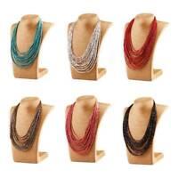 Fashion Multilayer Chain Bohemian Resin Seed Beads Choker Pendant Bib Necklace