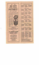 1941-42 Original Bee Hive NHL Checklist Advertising 8 3/4'' x 5 3/4'' Very Nice