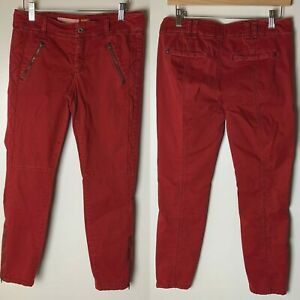 Anthropologie Pilcro and the Letterpress Pants Size 4 Ankle Zip Skinny Red