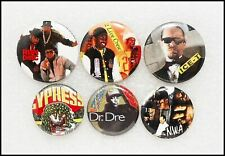 6 80's 90's Hip Hop Rap Original Buttons Badges NWA 2 Live Crew Dr. Dre Ice-T