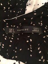 LADIES ZARA TRAFALUC BLACK AND WHITE SPOTTY DETAILED DRESS SIZE S