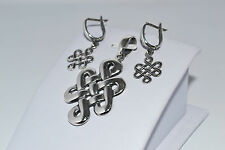 925 STERLING SILVER HANDMADE SOLID DROP EARRINGS AND PENDANT SET
