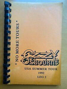 Original Ozzy Osbourne 1992 No More Tours Itinerary Book Calendar Band & Crew
