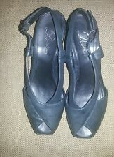 Delman women's sandals black soft leather peep toe wedge shoes 8 M UK 6  EU 38.5