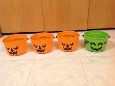 Lot 4 McDonalds 1986 McGoblin Witch McBoo Pumpkin Halloween No Lids Bucket Green