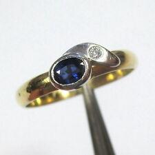 1218 - Dezenter Ring aus Gold 750 mit Saphir und Brillant - 2114/32