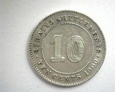 STRAITS SETTLEMENTS 1900 SILVER 10 CENTS ABOUT UNCIRCULATED
