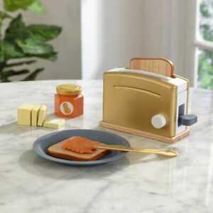 Kidkraft Modern Metallics™ Toaster Set | Wooden Toaster Bread, Plastic Plate Jam