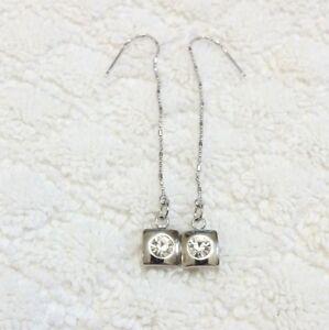 Crystal Rhinestone Square Shape Dangle Threader earrings