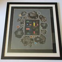 TOM FRICANO SIGNED 1970'S ETCHING NATURE COMPUTERIZED  ABSTRACT MODERNIST VNTG