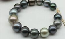"""HUGE 7.5""""-8"""" 11-12mm tahitian genuine black green multic round pearl bracelet"""