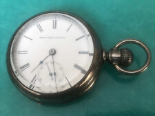 VINTAGE ELGIN NATL. WATCH CO. Open Face Silver Pocket Watch~Working Condition