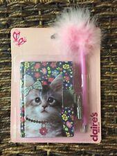 Claire's Club Kitten Cat Pink Furry Pen Lock Key Diary Girls Kids