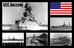 Guerra Navi ( Uss Arizona ) - Souvenir Novità Calamita Frigo - Viste / Flag /