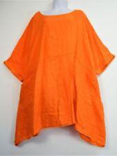 Maglie e camicie da donna arancione in lino con girocollo