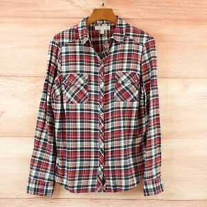 Forever New top - red blue plaid soft flannel cotton button up shirt size 12