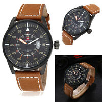 Fashion Mens Analog Quartz Leather Band Wrist Watch Date Sport Military Watches