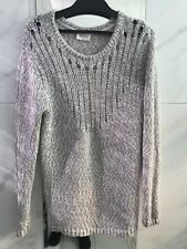 American Vintage Jumper Sweater Beige /White Cotton Blend Long Line As New LGE