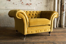 MODERN HANDMADE SOFT MUSTARD GOLD VELVET CHESTERFIELD SNUGGLE CHAIR, LOVE SEAT
