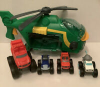 Swoops Helicopter & Pilot Blaze, Crusher & Blaze Push N Go Vehicle BUNDLE