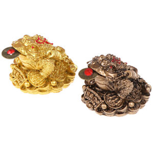 Feng Shui Toad Money lucky Fortune Chinese Frog Toad Home Office DecorationD^qi