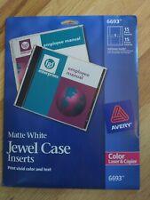 Avery 6693 Matte White Jewel Case Inserts Cd Dvd