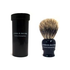 Cyril Salter Pure Badger Ebony Travel Shaving Brush w/ Travel Case