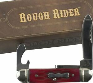 Rough Rider Red Jigged Mini Scout Pocket Knife Can Opener Screwdriver RR1291