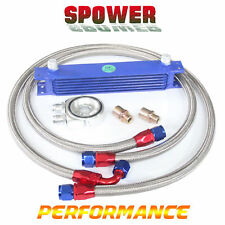7 Row AN10 Engine Transmission Aluminum Oil Cooler Blue + Filter Relocation Kit